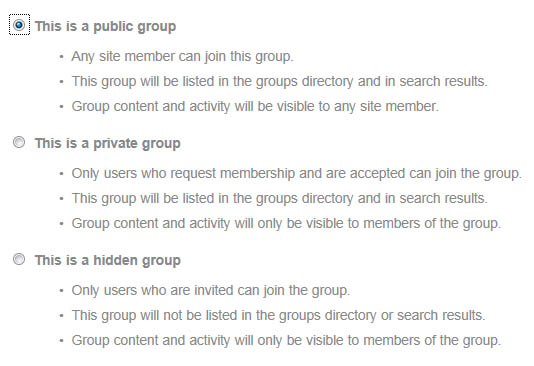 Group Privacy Options